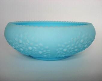 Vintage Bowl Fenton Blue Satin Glass Bowl