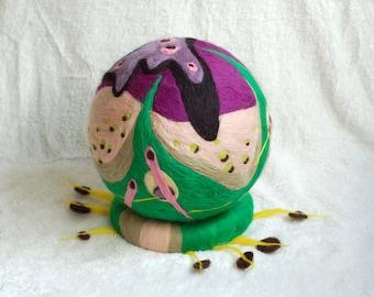 Felt sculpture with lots of colors, wool sculpture, handmade fantasy art work, OOAK felt art, green, brown and shades of purple, felted wool