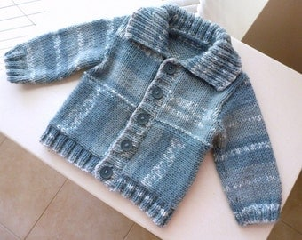 Blue boys cardigan MADE TO ORDER, hand knitted striped baby sweater, baby shower gift