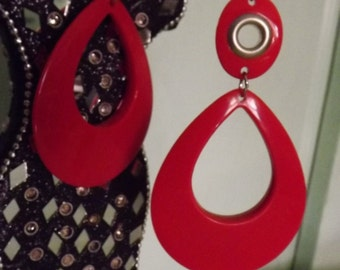 Bold Red Retro Dangle Earrings