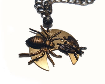 Spider Necklace, Fly Necklace, Insect Necklace, Steampunk Necklace, UNAWARE, Creepy Spider Stalks a Fly, N57