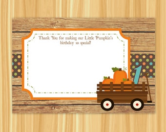 Little Pumpkin Thank You Card | Our Little Pumpin Thank You Card | Pumpkins & Wagon Thank You Card | Fall Thank You Card
