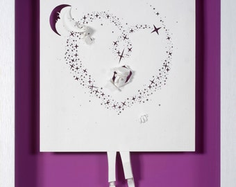 I will give you the moon -   Paper cut and paper sculpture - photographic reproduction art card