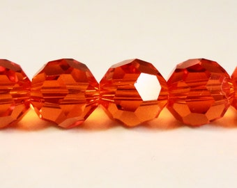 Red Crystal Beads 8mm Round Faceted Chinese Crystal Glass Beads for Jewelry Making on a 9 1/2 Inch Strand with 33 Beads