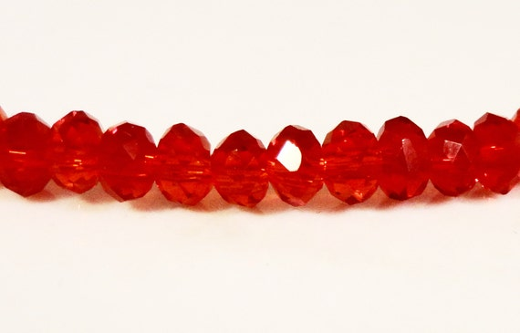 Rondelle Crystal Beads 3x2mm (2x3mm) Strawberry Red Faceted Tiny Chinese Crystal Glass Beads for Jewelry Making 100 Loose Beads per Pack
