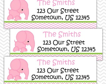 Elephant Pink - Personalized Address labels, Stickers, Baby Shower