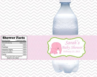 Pink Elephant Baby Shower Birthday  - Personalized water bottle labels - Set of 5  Waterproof labels