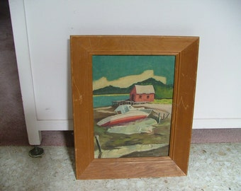 Vintage Midcentury 1958 Painting Red And White BOAT ON SHORE Of Lake Signed Brownfield