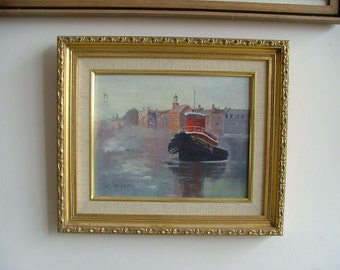 TUGBOAT IN HARBOR Oil Painting Signed Mary Ann Kennedy