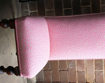 Closing down sale! Victorian Antique Convent Prayer Chair Upcycled in hand screen printed Sydney fabric by Publisher Textiles