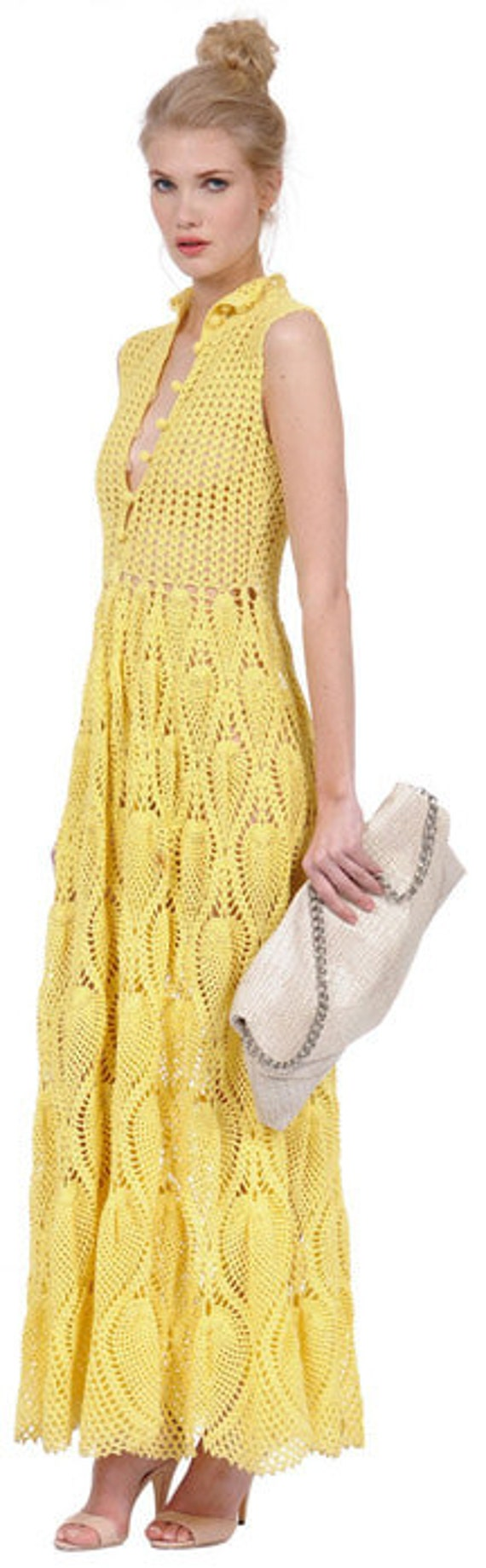 Crochet women long summer dress with pineapples by AsDidy on Etsy