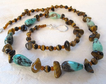 Moss Opal and Tiger Eye Necklace