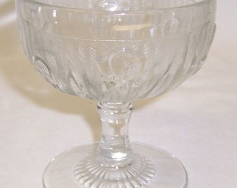 Jeannette Depression Glass Crystal IRIS and HERRINGBONE 4 Inch Tall Sherbet