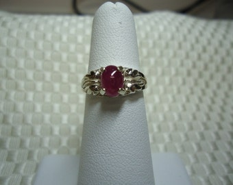 Oval Ruby Cabochon Ring in Sterling Silver
