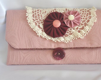 JOY! Clutch, Small Purse, Handmade, Dusty Rose Pink Damask,Beige Vintage Crochet, Upcycled, Repurposed, Vintage inspired, Cottage Chic, OOAK