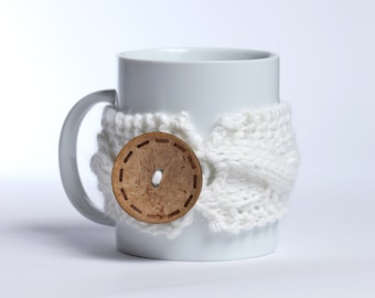 Tea cozy, Coffee cup, Knitted mug cozy, tea cup cozy,  coffee sleeve, white, warmer