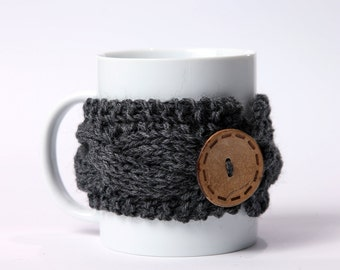 Tea cozy, Coffee cup, Knitted mug cozy, tea cup cozy,  coffee sleeve, gray, warmer
