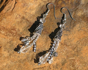 Silver Cone and Crystal Earrings, Glitzy