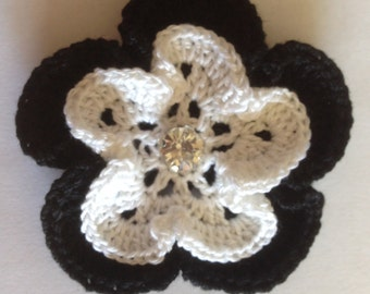 Layered Crochet Flower with Rhinestone