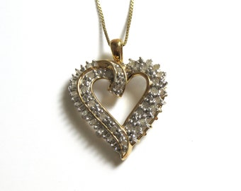 Vermeil Cubic Zirconia Heart Necklace with Long Chain - Total Weight 5.3 Grams - Love - Sweetheart # 2203