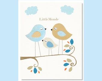 NURSERY ART PRINTS, Art for a Baby Boy, Baby Nursery Art, Blue and Beige Nursery Art, Little Birds Nursery Print