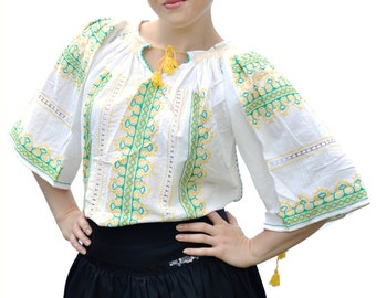Romanian ethnic white blouse with green and yellow embroidery