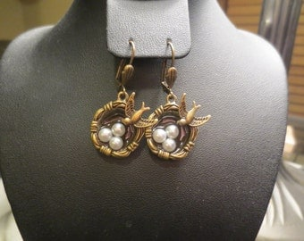 Nest Earrings- Antique and Silver