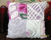 Gorgeous Plush Lush Vintage Chenille Bedspread Patchwork Throw Pillow Gift 13 x 13 Dorm