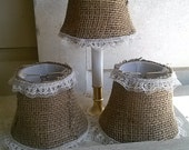 Burlap lamp shade, miniature lamp shade, rustic shades, farmhouse lampshade