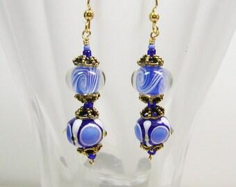 Blue Lamp Work Earrings, Dot and Swirl Earrings, Blue Earrings, Dangle Earrings