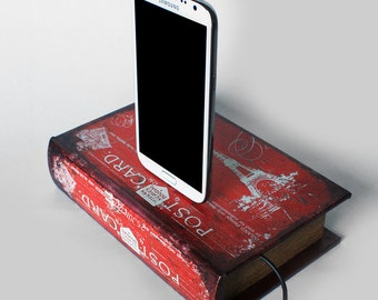 Postcard from Paris - Samsung Galaxy S3, Samsung S4, Note Red Charging Dock - Hidden Compartment Book Box Dock