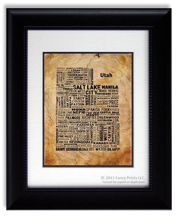 Unique gift for him of UTAH State, Utah Map Cities & Towns - Unique Vintage Style Typography Print Fathers Day gift for him Father's Day