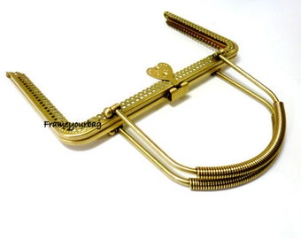 8 in x 5 in (20.50cm x12.50cm)  purse frame antique brass with handle sew on ( purse making supplies) F20.5/1067
