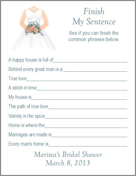 Items similar to 24 Personalized FINISH MY SENTENCE Bridal ...