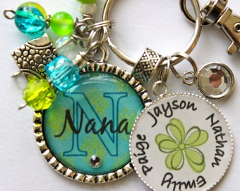 Personalized Nana keychain childrens name nana mother gift present sister aunt teacher grandma yaya daughter teal lime green print birthday
