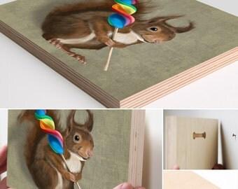 Wood art block print. Squirrel with a lollipop portrait Wood block print Wall art print Wall decor Wood sign Home decor Wall decor Wood sign
