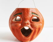 Vintage Double Faced Halloween Jack-O-Lantern JOL Pumpkin / Pulp Paper Mache Trick or Treat Candy Container / 1930s-1940s Choir Boy