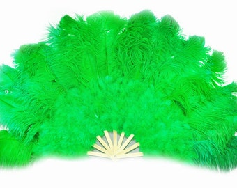 """27""""x 53"""" Emerald Green Marabou & Ostrich Feathers Hand Fan With Bamboo Staves Burlesque Dance"""