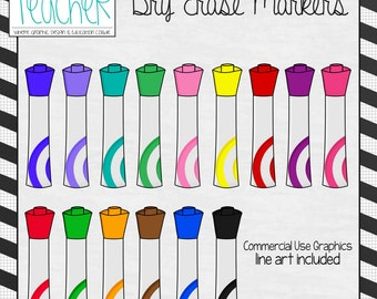 Back 2 School Supplies: Dry Erase Marker Clip Art / Graphics