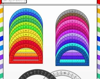 Colorful Protractors Clip Art Collection