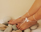 White Bow With silvery flower  barefoot sandals, Toe thong Bottomless shoes, Foot jewelry,Wedding Shoes,bellydance barefoot sandal