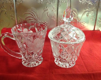 Vintage Etched Floral Pattern Led Crystal Creamer & Sugar Bowl Germany