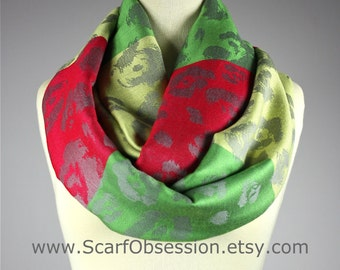 Green scarf, bright scarf, pashmina infinity scarf, red scarf, yellow scarf, gift for her