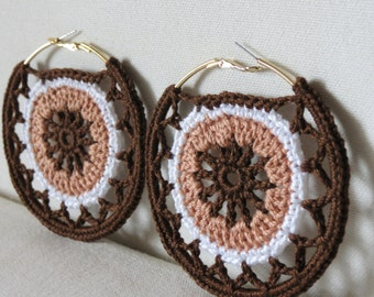 Mandala Hoops-Crochet Jewelry-Large Hoop Earrings-Coffee Brown-Tan-Crisp White