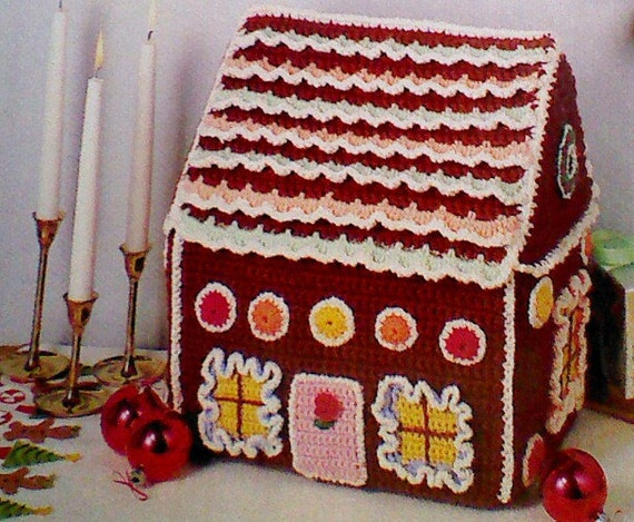 Four 4 Vintage Crocheted Gingerbread House by MAMASPATTERNS