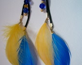 JellyKimchi's Blue and Gold Feather Earrings