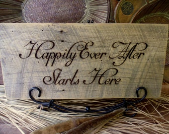 Wedding Sign  Happily Ever After Starts Here Sign