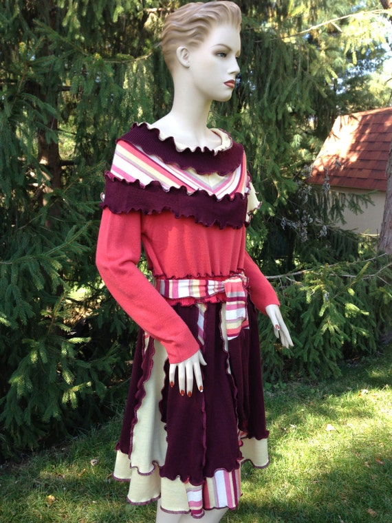 Sweater Dress L to XL Size Ruffled Patchwork Recycled Sweaters Womens Clothing Ready to Ship