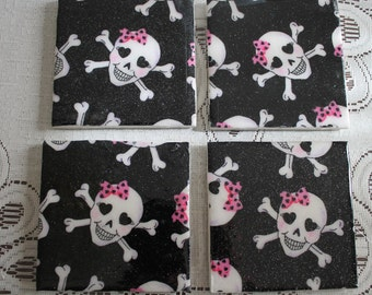 Coasters - Tile - Little Lady Skulls