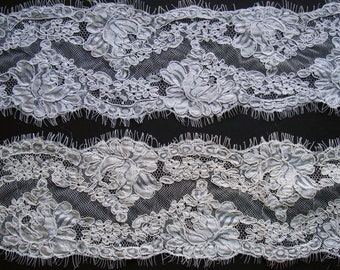 "New Alencon Lace Trim Ivory or White Lace Trim Re-embroidered Double Border Alencon Lace Trim Eyelash edge Price is per 55""-  BEST PRICE!"